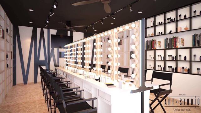 phòng học thực hành tại Tina Lê Make Up Academy
