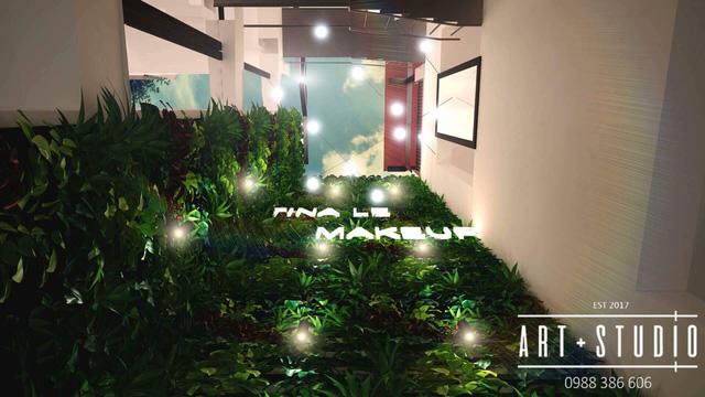 Giếng trời mang lại không gian xanh thoáng mát cho Tina Le Make Up Academy