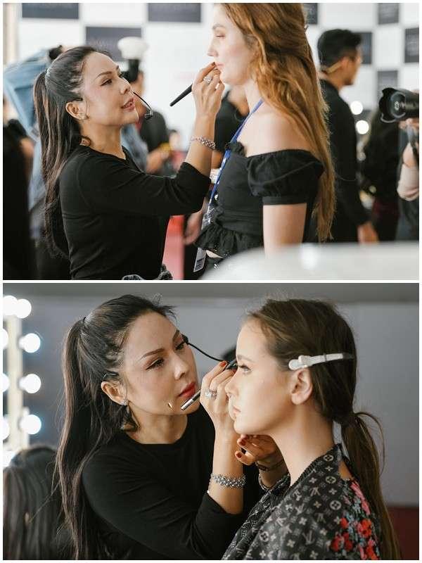 Tina Lê chăm chút tỉ mỉ cho gương mặt của người mẫu trình diễn cho show VIFW 2019