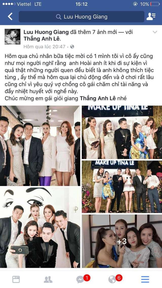 Dòng trạng thái của nữ ca sĩ Lưu Hương Giang chúc mừng Tina Lê khai trương cơ sở